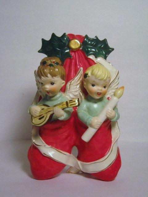 Vintage Christmas Napco Angel Stocking Figurine Porcelain Wall