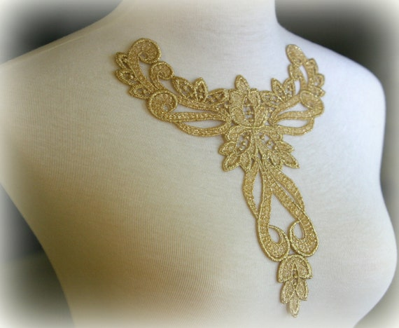 Gold Large Lace Applique, Custom Design, Couture Design, Dressmaking, Lace Jewelry, Crafting, etc, GL-013