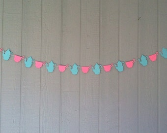 Tea Party Garland, 10 feet - Pink/Aqua - Teapots & Teacups - Birthdays, Showers, Weddings, Photo Prop