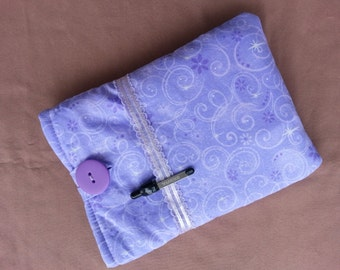 Kindle, Kindle Touch or Kindle Paperwhite Cover. Purple Sparkly Disney Princess Fabric. Padded Sleeve Pouch.