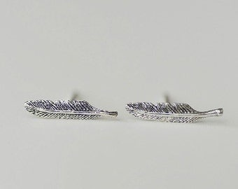925 Sterling Silver Feather Retro Silver Stud Earrings s128