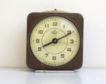 Vintage Dark Brown Mechanical Alarm Clock / Made in CCCP