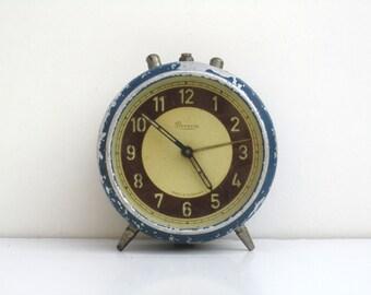 Antique Hungarian Danuvia Mechanical Alarm Clock / Antique Blue Alarm Clock / Non Working Clock