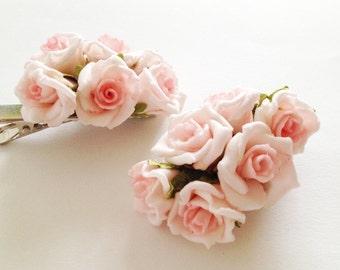 """Flower Hair Clip Set, """"Rose"""" bridal floral hair clip, rose flower clip, bridal hair accessories, wedding hair clips"""