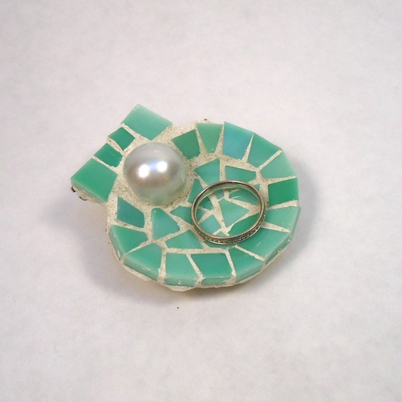 Sea Green Mosaic Seashell Wedding Ring Holder with Pearl //  Nautical Beach Ring Bearer Pillow