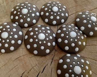 Golem design round ceramic cabochon  Ceramic round  cabochon Design Golem Ceramic  round  cabochon 1 pcs