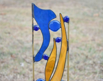Stained Glass Garden Decoration.  Yard Art in Blue and Amber.  'Rushes Along the Banks'