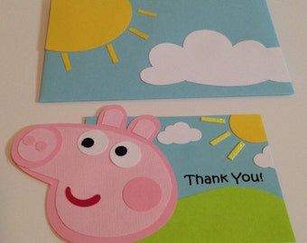 Peppa pig party decorations,  Peppa Pig Thank you cards