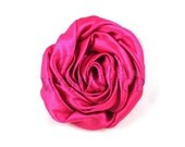 "Hot Pink - Set of 3 Large 3"" Rolled Satin Flowers - RSF-004"