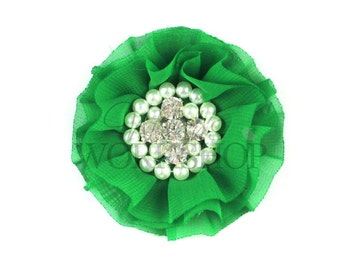 """Green - Set of 3 Large 3"""" Chiffon Flowers with Pearl & Rhinestone Centers - LPR-019"""