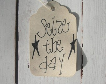 Primitive Country Rustic Hang Tag Gift Tag Craft Supply Label It Seize the Day 25 Tags medium