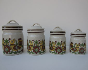 Canister Set of 4 with Covers—Danish Motif of Birds with Mod Flowers 60's/70's