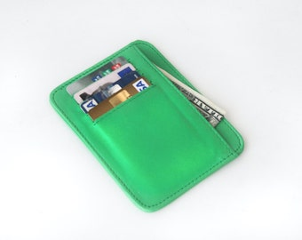 small wallet / card holder - Lime green genuine leather