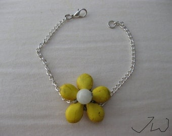Yellow Turquoise Flower Bracelet with White Bead
