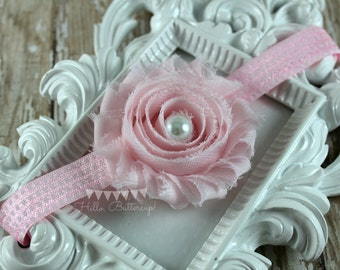 Pink Shabby Chic Headband, Polka dot headband, Flower Girl Headband, Baby headband, Newborn photo prop