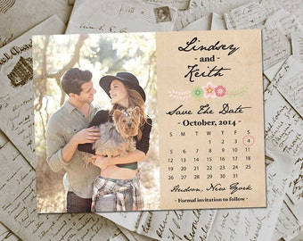 "Wedding Save The Date Magnets - RusticFloral Vintage Photo Personalized 4.25""x5.5"""