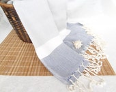 Linen Grey, Blue,White Striped Peshtemal-Turkish PESHTEMAL-Spa,Bath,Beach,,Yoga,Pool,Fitness Towel