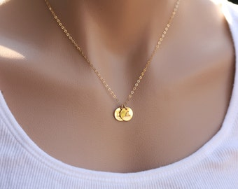Personalized TWO Initial letter charm Necklace,14k gold,Best Friends Necklace,sisterhood,Mother's jewelry,birthday