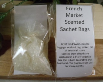 French Market Scented Sachet Bag - Complex Floral Scent -Great for Drawers, Closets, Luggage, Workout Bags- Hostess Gifts-Shower Gifts