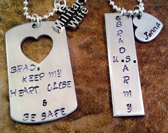 Personalized Jewelry, His And Her Necklace, Military Wife Necklace, Wife and Husband Necklaces, Aluminum Jewelry