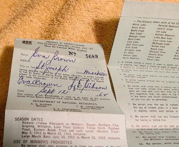 1962 saskatchewan canada fishing license canadian big game for Canadian fishing license bc