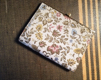 Vintage Nicholas Reich Clutch Purse Embroidered Florals Dover Tapestry  c.1960s