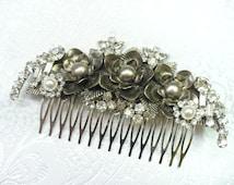 Vintage Bridal or Formal Hair Comb - silver tone - antique Art Deco - leaf motif - faux PEARLS - RHINESTONES - vintage wedding - Gatsby