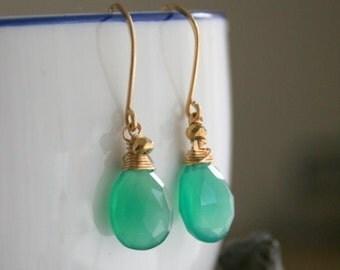 Green Onyx Earrings in 14k Gold , Gemstone Dangle Earrings, Handmade sale
