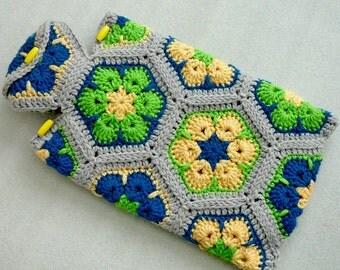 Hot Water Bottle Cozy, Crochet African Flower Hot Water Bottle Cover