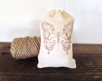 Butterfly Favor Bag Muslin Party Favor Rustic Wedding Birthday Shower Gift Bag Stamped Set of 10