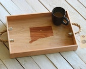 Custom Personalized Wooden Serving Tray - Engraved City & State, or Country Design With Heart