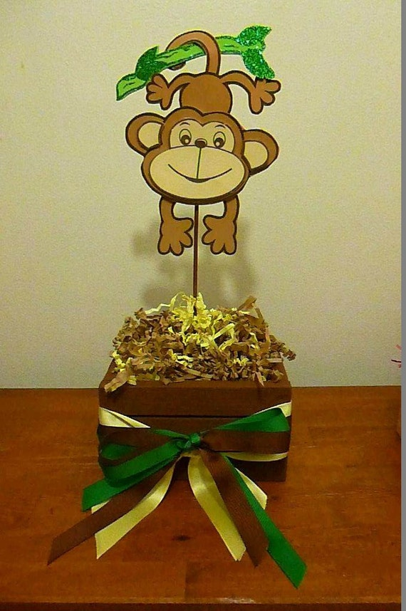 jungle monkey baby shower centerpiece half a dozen 6 pieces