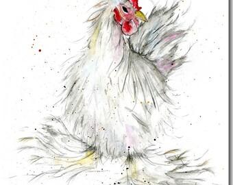 Delilah Greeting Card - Chicken Card, Barnyard, Blank Inside, Hens