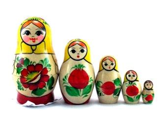"Russian nesting dolls ""Rossiyanka"" new set  5 psc souvenir matryoshka gift"