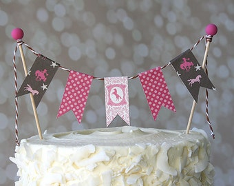 Pink and Brown Cowgirl Horse Pony Birthday Cake Bunting Pennant Flag Cake Topper-MANY Colors to Choose From!  Birthday, Shower Cake Topper