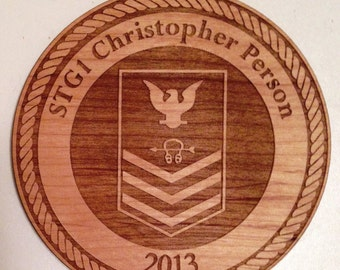 PERSONALIZED USN Logo Wooden Ornament