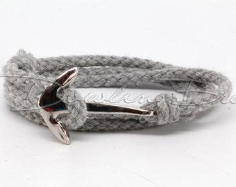 Gray Cotton Anchor Bracelet