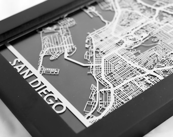 "San Diego California Stainless Steel Laser Cut Map - 5x7"" Framed 