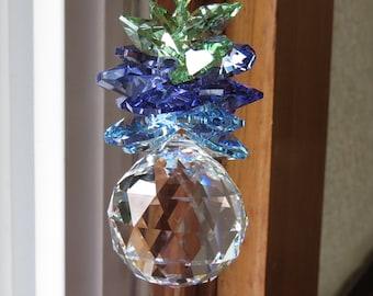 Swarovski Pineapple SunCatcher, Swarovski Clear Crystal 30mm Ball With Aqua, Purple, Green, Cluster Of Swarovski Crystal SunCatcher, Rainbow