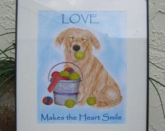 Golden Retriever Print Golden Retriever Art - Love Makes the Heart Smile
