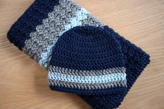 Newborn Baby Boy Crochet Blanket And Hat 19x24 Car
