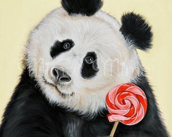 Nursery art print. Panda bear archival print. Panda giclée paper print. Panda bear nursery art.  Kids bedroom decor. Bear decor. Bear print.