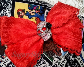 Day of the Dead, Sugar Skull Makeup, Accessory, Dia de los Muertos, Ribbon Hair Clip Wedding, Red Lace with Rose, Halloween Costume