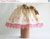 ON SALE Lampshade Monarchy of Roses, Adaptable Lampshade Cover, Painted Crown of Roses, Pink Symphonie Decor, Ready to Ship