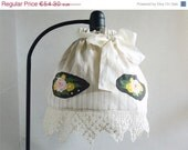 ON SALE Vintage Look Lampshade, Handpainted Bouquet Lampshade, Art Nouveau Lampshade, Hand Crocheted Lace, Ready to Ship.
