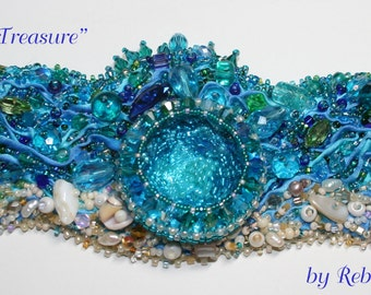 Neptune's Treasure- Bead embroidered shibori bracelet