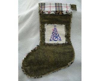 Western Rag Style Christmas Stocking #4