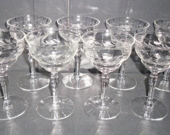 8 Vintage Etched Flower Fostoria Tall Stem Wine Glass Sherbets - MINT