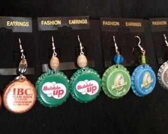 Beerings! IBC Cream Soda, Bubble Up Soda, White Rock, and Premium Root Beer Bottle Cap Earrings.