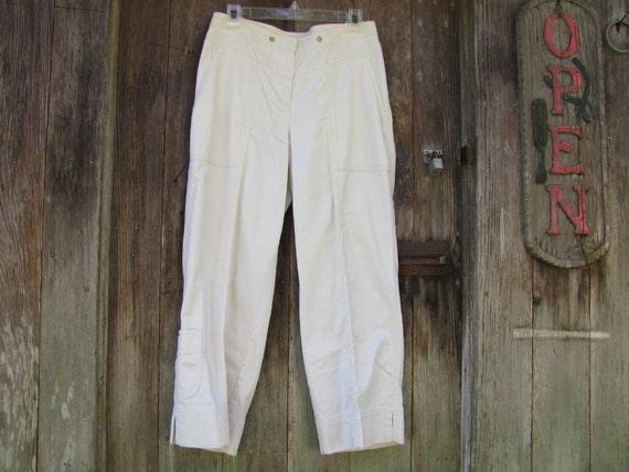 SALE Jones New York Signature Sz 6 Womens Ivory Pants Cuff Pocket 30x25 Vintage 80's Excellent Condition White Jeans Retro Ladies